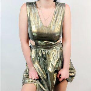 Dresses & Skirts - XXI Metallic Gold Cut-Out Dress